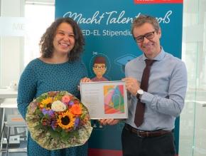 MED-EL Stipendiatin Kesha-Shanice Nowack und Gregor Dittrich, Geschäftsführer von MED-EL Deutschland © MED-EL