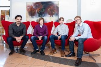 Das Gründerteam der sonoware GmbH (von links): Merikan Koyun, Christian Lüke, Stephan Senkbeil und Jochen Withopf. Copyright: sonoware